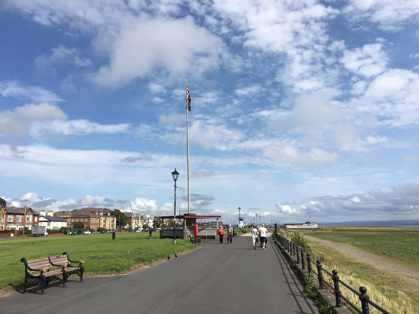 Lytham seafront, looking towards the River Ribble with the Windmill in the distance