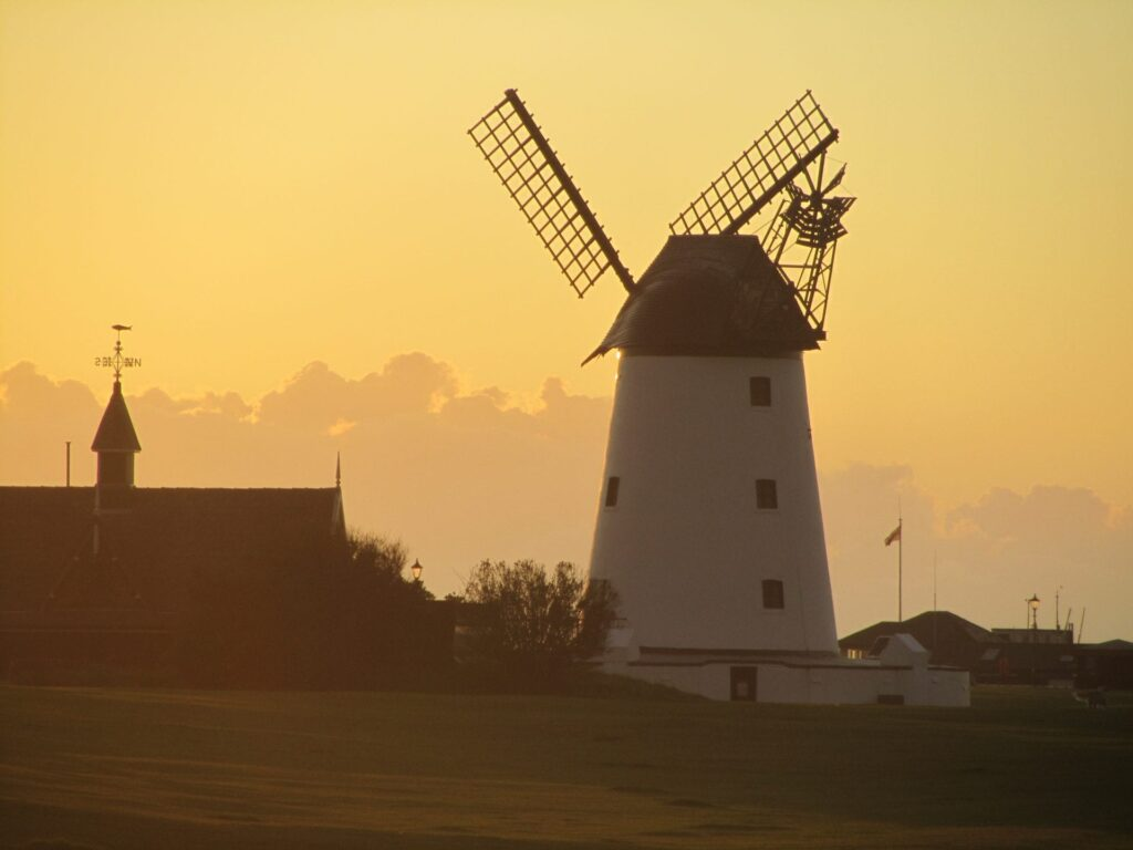 The windmill at sunset, see it when you go walking in Lytham